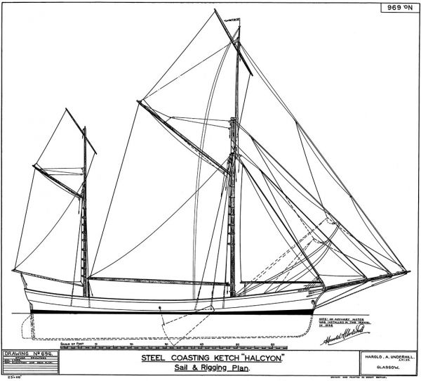 Halcyon - Steel Coasting Ketch - Sail and Rigging Plan